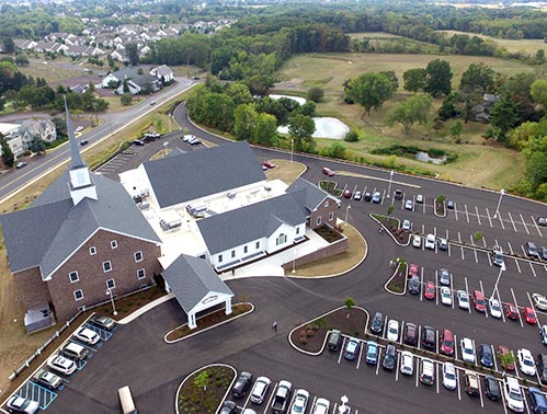 Aerial view of church property
